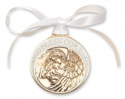 White Ribbon Guardian Angel Crib Medal in Brass [BLCRB012]