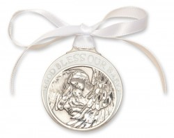 White Ribbon Guardian Angel Crib Medal in Pewter [BLCRB011]