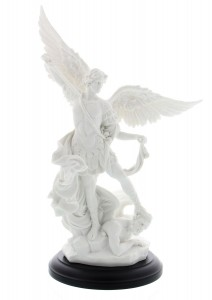 White St. Michael Statue - 10.75 Inches [GSCH1087]