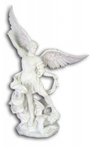 White St. Michael Statue - 10 Inches  [GSCH1088]