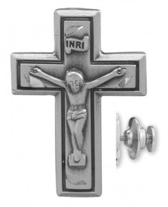 Wide Edge Crucifix Lapel Pin Sterling Silver [HMLP010]