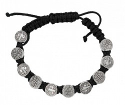 Women's Adjustable Black Corded St. Benedict Bracelet [MCBR0006]