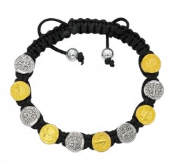Women's Adjustable Black Corded Two-Tone St. Benedict Bracelet [MCBR0037]