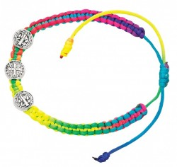 Women's Adjustable Multi Color Cord St. Benedict Bracelet [MCBR0013]