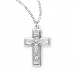 Women's Block Style Crucifix Medal Sterling Silver [RECRX1048]