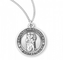 Women's Classic Round Saint Christopher Necklace [HMM3437]