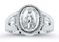 Women's Crystal Miraculous Medal Ring Sterling Silver [HMR008]