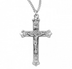 Women's Decorative Matte Sterling Crucifix Medal [RECRX1010]