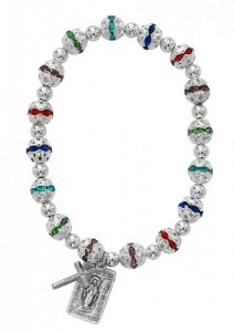 Women's Elegant Stretch Bracelet with Multi-Color Stone Beads and Charms [MCBR0051]
