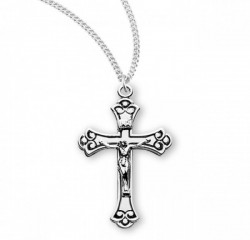 Women's Black Enamel Fancy Tip Flat Crucifix Medal [RECRX1051]