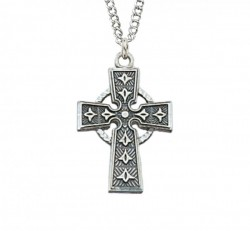 Women's Fleur de Lis Celtic Cross Sterling Silver [MVM1097]