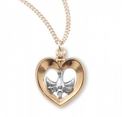 Women's Heart and Dove Open Cut Necklace [HMM3390]