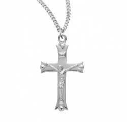 Women's Larger Notched Tip Crucifix Necklace [HMM3334]
