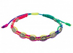 Women's Multi Colored Cord Bracelet with Miraculous Medals [MCBR0014]
