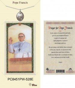 Women's Oval Pope Francis Pewter Pendant w. Prayer Card [BLPCP061]