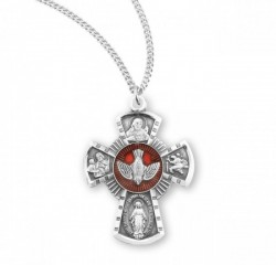Women's Red Enamel 4 Way Cross Sterling Silver Pendant [HM0703]