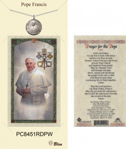 Women's Round Pope Francis Pewter Pendant w. Prayer Card [BLPCP060]