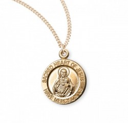 Women's Round Sacred Heart Medal and Chain [HM0746]