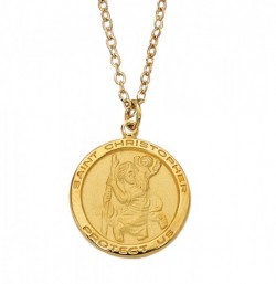 Women's Round Saint Christopher Goldtone Medal [MV2019]