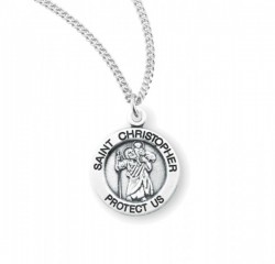 Women's Round Saint Christopher Necklace [HMM3416]