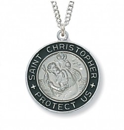 Women's Round Silver with Black St. Christopher Medal [CM0605]