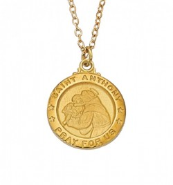 Women's Saint Anthony Medal Round Goldtone [MV2024]