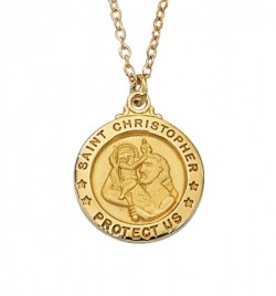 Women's Saint Christopher Medal Round Goldtone [MV2025]