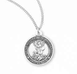 Women's Saint Michael Round Sterling Silver Medal [HMM3004]