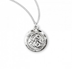 Women's Scalloped Edge Round Saint Michael Medal [HMM3019]
