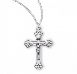 Women's Scroll Etched Crucifix Pendant Sterling Silver [RECRX1049]