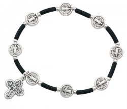 Women's St. Benedict and 4-Way Medal Stretch Bracelet [MCBR0004]