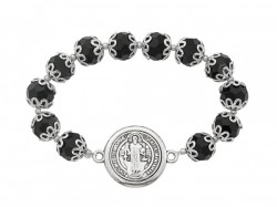 Women's St. Benedict Bracelet with Black Capped Beads [MCBR0021]