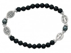 Women's St. Benedict Stretch Bracelet with Black Glass Beads [MCBR0026]