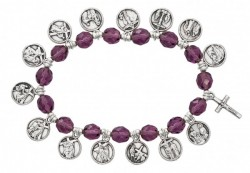Women's Stations of the Cross Stretch Bracelet Purple Beads [MCBR0032]
