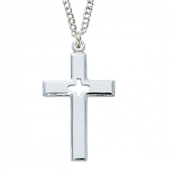 Women's Sterling Silver Cut-Out Holy Spirit Cross Necklace [MV1082]