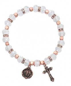 Women's Stretch Bracelet with Crystal and Copper Beads Cross and Mary Charms [MCBR0043]