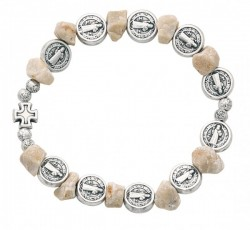 Women's Stretch St. Benedict Bracelet with Stone Beads [MCBR0024]