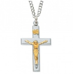 Women's Wide Bar Raised Crucifix Two Tone [CM2013]