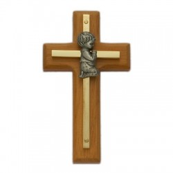 "Wood & Brass Praying Boy Baby Cross 4""H   [SNCR1055]"