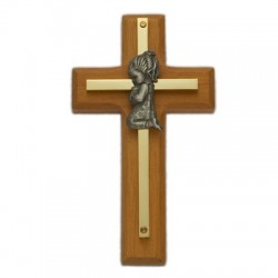 "Wood & Brass Praying Girl Baby Cross 4""H   [SNCR1056]"