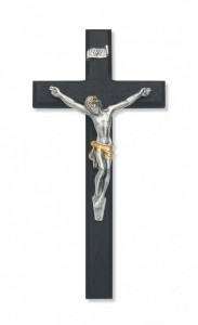 Black Wood Wall Crucifix with Two-Tone Corpus 10 inch Beveled [CRX3855]