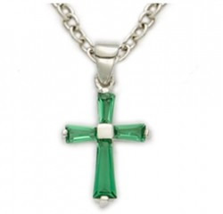 Youth Birthstone Baguette Cross Necklace [SNC0013]