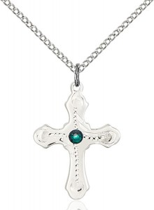 Youth Cross Pendant with Dotted Etching with Birthstone Options [BLST60366]