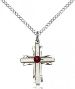 Youth Etched Cross Pendant with Birthstone Options [BLST0675]