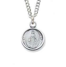 Youth Round Sterling Silver Miraculous Medal Necklace [CM2035]