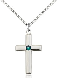 Youth Simple Cross Pendant with Birthstone Options [BLST2195]