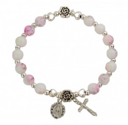 Youth Stretch Bracelet with Marbleized Beads and Mary and Cross Charms [MCBR0048]