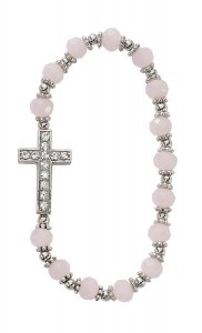 Youth Stretch Bracelet with Cross and Pink Glass Beads [MV1040]