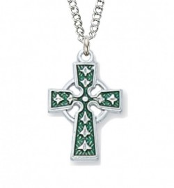 Youth or Woman's Size Green Enameled Celtic Cross Sterling Silver [MVM1092]