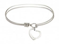Cable Bangle Bracelet with a Contemporary Open Heart Charm [BRC4208]